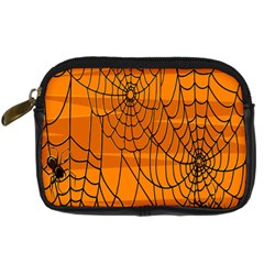 Vector Seamless Pattern With Spider Web On Orange Digital Camera Cases