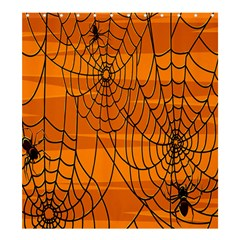 Vector Seamless Pattern With Spider Web On Orange Shower Curtain 66  X 72  (large)