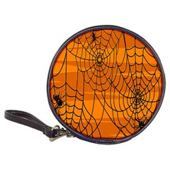 Vector Seamless Pattern With Spider Web On Orange Classic 20 Cd Wallets