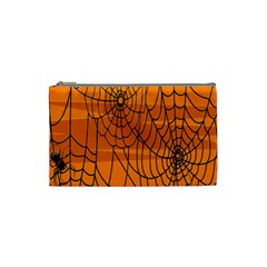 Vector Seamless Pattern With Spider Web On Orange Cosmetic Bag (small)  by BangZart
