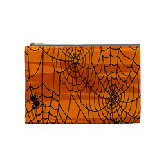 Vector Seamless Pattern With Spider Web On Orange Cosmetic Bag (medium)