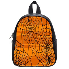 Vector Seamless Pattern With Spider Web On Orange School Bags (small)  by BangZart