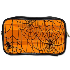 Vector Seamless Pattern With Spider Web On Orange Toiletries Bags 2 Side