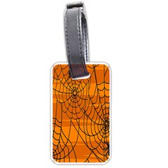 Vector Seamless Pattern With Spider Web On Orange Luggage Tags (two Sides) by BangZart