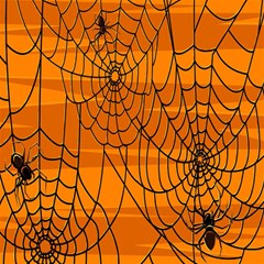 Vector Seamless Pattern With Spider Web On Orange Magic Photo Cubes