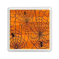 Vector Seamless Pattern With Spider Web On Orange Memory Card Reader (square)