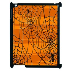 Vector Seamless Pattern With Spider Web On Orange Apple Ipad 2 Case (black)