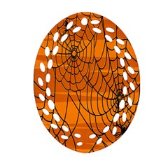 Vector Seamless Pattern With Spider Web On Orange Ornament (oval Filigree) by BangZart