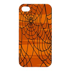 Vector Seamless Pattern With Spider Web On Orange Apple Iphone 4/4s Hardshell Case by BangZart