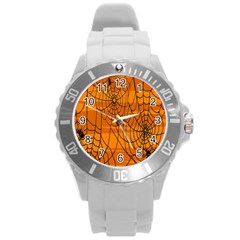 Vector Seamless Pattern With Spider Web On Orange Round Plastic Sport Watch (l) by BangZart