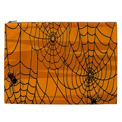 Vector Seamless Pattern With Spider Web On Orange Cosmetic Bag (xxl)  by BangZart