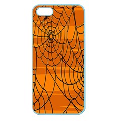 Vector Seamless Pattern With Spider Web On Orange Apple Seamless Iphone 5 Case (color)