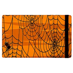 Vector Seamless Pattern With Spider Web On Orange Apple Ipad 2 Flip Case by BangZart