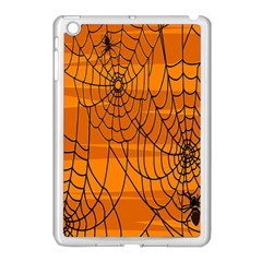 Vector Seamless Pattern With Spider Web On Orange Apple Ipad Mini Case (white) by BangZart