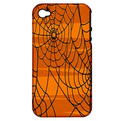 Vector Seamless Pattern With Spider Web On Orange Apple Iphone 4/4s Hardshell Case (pc+silicone) by BangZart