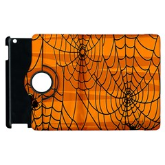 Vector Seamless Pattern With Spider Web On Orange Apple Ipad 2 Flip 360 Case by BangZart