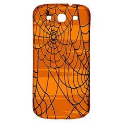 Vector Seamless Pattern With Spider Web On Orange Samsung Galaxy S3 S Iii Classic Hardshell Back Case by BangZart