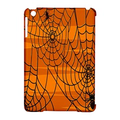 Vector Seamless Pattern With Spider Web On Orange Apple Ipad Mini Hardshell Case (compatible With Smart Cover)