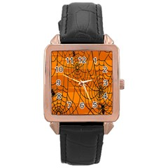 Vector Seamless Pattern With Spider Web On Orange Rose Gold Leather Watch