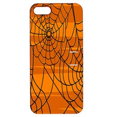 Vector Seamless Pattern With Spider Web On Orange Apple Iphone 5 Hardshell Case With Stand