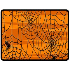 Vector Seamless Pattern With Spider Web On Orange Double Sided Fleece Blanket (large)  by BangZart