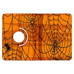 Vector Seamless Pattern With Spider Web On Orange Kindle Fire Hdx Flip 360 Case by BangZart