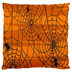Vector Seamless Pattern With Spider Web On Orange Standard Flano Cushion Case (two Sides)