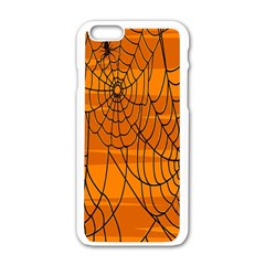 Vector Seamless Pattern With Spider Web On Orange Apple Iphone 6/6s White Enamel Case by BangZart