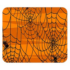 Vector Seamless Pattern With Spider Web On Orange Double Sided Flano Blanket (small)