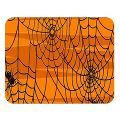 Vector Seamless Pattern With Spider Web On Orange Double Sided Flano Blanket (large)  by BangZart