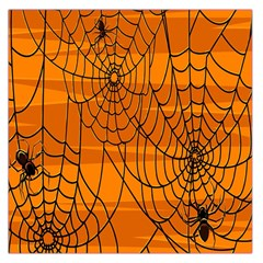 Vector Seamless Pattern With Spider Web On Orange Large Satin Scarf (square)