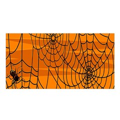 Vector Seamless Pattern With Spider Web On Orange Satin Shawl