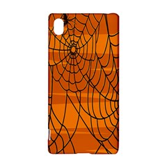 Vector Seamless Pattern With Spider Web On Orange Sony Xperia Z3+ by BangZart