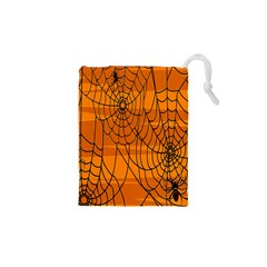 Vector Seamless Pattern With Spider Web On Orange Drawstring Pouches (xs)