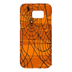 Vector Seamless Pattern With Spider Web On Orange Samsung Galaxy S7 Edge Hardshell Case