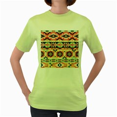 Aztec Pattern Copy Women s Green T Shirt