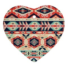 Aztec Pattern Copy Heart Ornament (two Sides)