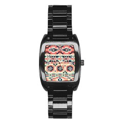 Aztec Pattern Copy Stainless Steel Barrel Watch