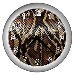 Snake Skin O Lay Wall Clocks (silver)  by BangZart