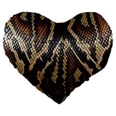 Snake Skin O Lay Large 19  Premium Flano Heart Shape Cushions by BangZart