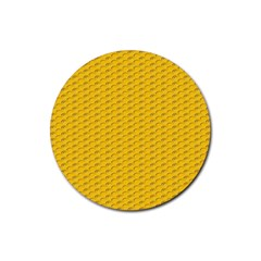 Yellow Dots Pattern Rubber Round Coaster (4 Pack)  by BangZart