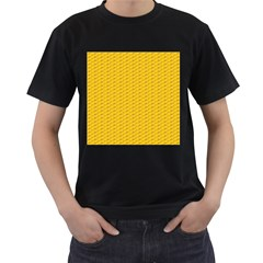 Yellow Dots Pattern Men s T Shirt (black) (two Sided)
