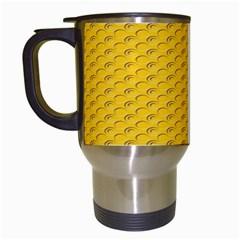 Yellow Dots Pattern Travel Mugs (white) by BangZart
