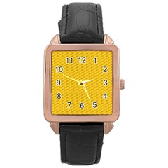 Yellow Dots Pattern Rose Gold Leather Watch