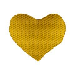 Yellow Dots Pattern Standard 16  Premium Flano Heart Shape Cushions by BangZart