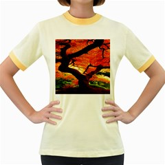 Maple Tree Nice Women s Fitted Ringer T Shirts