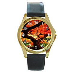 Maple Tree Nice Round Gold Metal Watch