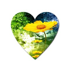 Yellow Flowers Heart Magnet by BangZart