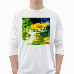 Yellow Flowers White Long Sleeve T Shirts