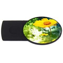 Yellow Flowers Usb Flash Drive Oval (4 Gb) by BangZart